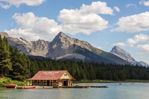 Canada, Alberta, Jasper National Park, Maligne Lake and Boat House by Jamie & Judy Wild