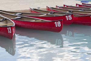 Canada, Banff National Park, Lake Louise, Canoes by Jamie & Judy Wild