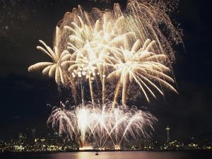Fireworks on July 4th, at Gasworks Park; Space Needle in Background, Seattle, Washington, USA by Jamie & Judy Wild