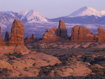 Garden of Eden with La Sal Mountains near Dusk, Arches National Park, Utah, USA
