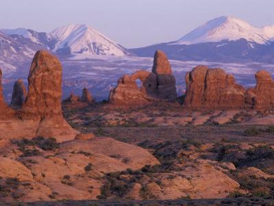 Garden of Eden with La Sal Mountains near Dusk, Arches National Park, Utah, USA by Jamie & Judy Wild