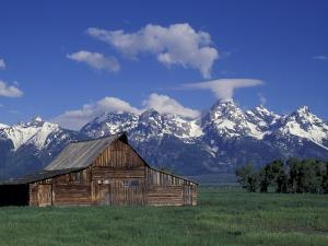 Jackson Hole Homestead and Grand Teton Range, Grand Teton National Park, Wyoming, USA by Jamie & Judy Wild