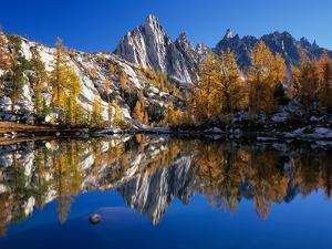 Prusik Peak and Temple Ridge, Reflected in Sprite Lake, Enchantment Lakes by Jamie & Judy Wild