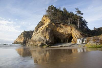 Sea Caves and Waterfall at Hug Point, Hug Point State Park, Oregon, USA by Jamie & Judy Wild
