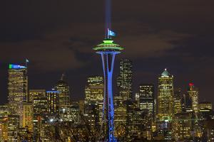 Space Needle with Seahawk colors and 12th man flag. Washington, USA by Jamie & Judy Wild