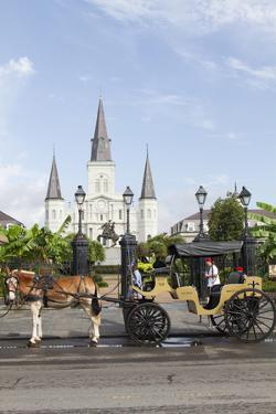 Statue, St. Louis Cathedral, Jackson Square, French Quarter, New Orleans, Louisiana, USA by Jamie & Judy Wild