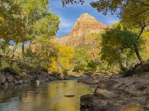 USA, Utah. Zion National Park, Virgin River and The Watchman by Jamie & Judy Wild