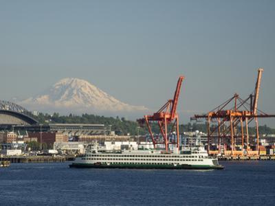 Washington State, Seattle, Washington State Ferry and Mount Rainier by Jamie & Judy Wild