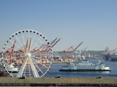 Washington State, Seattle Waterfront, The Great Wheel and Washington State Ferry by Jamie & Judy Wild