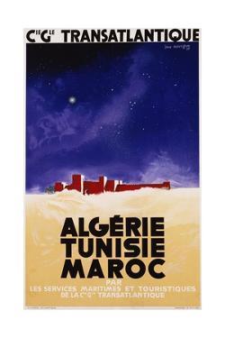 Algerie - Tunisie - Maroc Travel Poster by Jan Auvigne