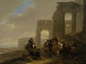 Street Scene Placed Among Roman Ruins by Jan Both