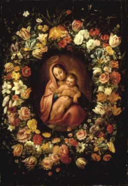 Madonna and Child within a Garland of Flowers by Jan Breugel the Elder