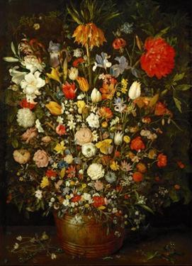 Big Flower Bouquet in a wooden vessel, 1606/07 by Jan Brueghel the Elder
