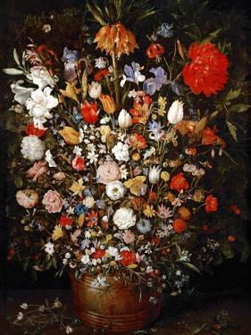 Big Flower Bouquet in a Wooden Vessel by Jan Brueghel the Elder