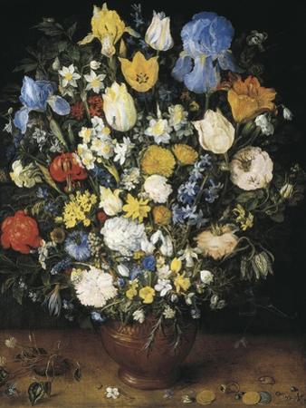 Bouquet in a Clay Vase by Jan Brueghel the Elder