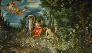 Ceres and the four elements. Figures painted by H. van Baalen. 1604 by Jan Brueghel the Elder