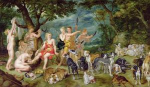 Diana and Her Nymphs Preparing to Leave For the Hunt by Jan Brueghel the Elder