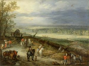 Extensive Landscape with Travellers on a Country Road, C.1608-10 by Jan Brueghel the Elder