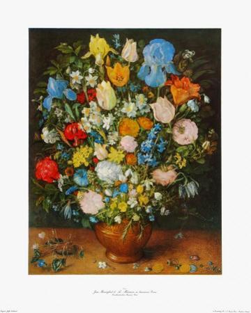 Flowers in a Brown Vase by Jan Brueghel the Elder