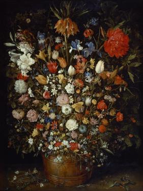 Flowers in a Wooden Vessel, Ca 1606 by Jan Brueghel the Elder