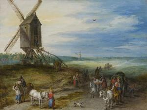 Landscape with Mill and Carts, C.1611 by Jan Brueghel the Elder