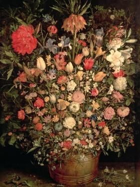 Large Bouquet of Flowers in a Wooden Tub, 1606-07 by Jan Brueghel the Elder