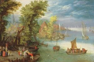 River Landscape with a Village and a Landing, 1612 by Jan Brueghel the Elder