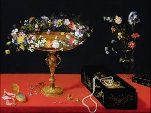 A Still Life of a Tazza with Flowers (Oil on Panel) by Jan Brueghel the Younger