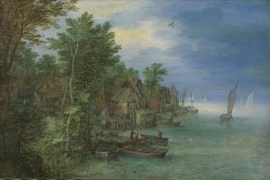 View of a Village Along a River by Jan Brueghel