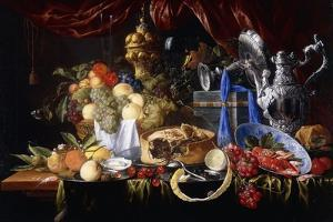 A Pie on a Pewter Plate, a Partly Peeled Lemon, a Silver Spoon on a Pewter Plate, Crayfish and… by Jan Davidsz. de Heem