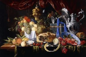 A Pie on a Pewter Plate, a Partly Peeled Lemon, a Silver Spoon on a Pewter Plate, Crayfish and… by Jan Davidsz de Heem