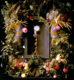 Communion Cup and Host, Encircled with a Garland of Fruit by Jan Davidsz. de Heem