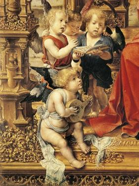 Angels Playing Musical Instruments, Detail from Central Panel of Malvern Triptych, 1510 by Jan Gossaert