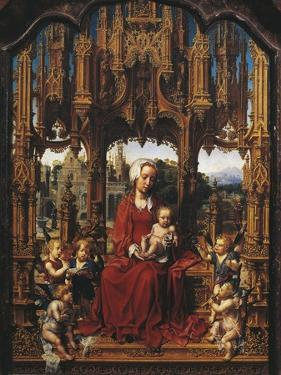 Madonna with Child and Angel Musicians, Central Panel of Malvern Triptych by Jan Gossaert