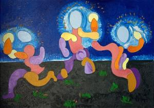 In the Warm Nights of June,The Troglodytes Celebrate Fire, 2009 by Jan Groneberg