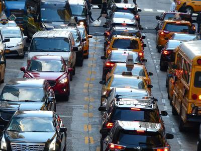Car jam on 42nd Street at Grand Central terminal