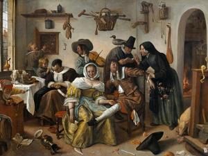 """Beware of Luxury (""""In Weelde Siet Toe"""") by Jan Havicksz. Steen"""