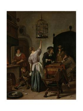 Interior with a Woman Feeding a Parrot Two Men Playing Backgammon and Other Figures, 1670 by Jan Havicksz Steen