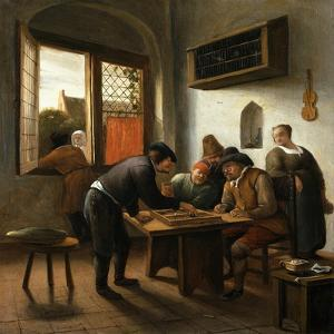 Tric Trac Players in an Interior by Jan Havicksz Steen