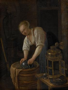 Woman Scouring Metalware by Jan Havicksz Steen