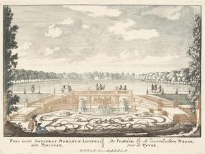 Fountain and large pond in the gardens of Het Loo Palace, 1694-97 by Jan I van Call