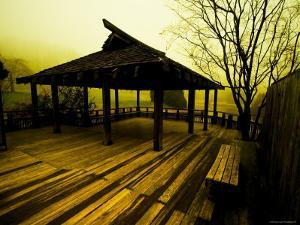 Japanese Gazebo on Deck overlooking Water and Hills by Jan Lakey