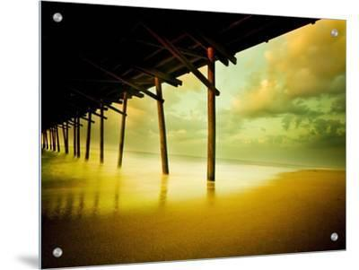 Pier over Calm Waters and Golden Sand by Jan Lakey