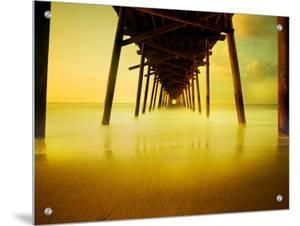 Pier over Golden Sand and Water by Jan Lakey