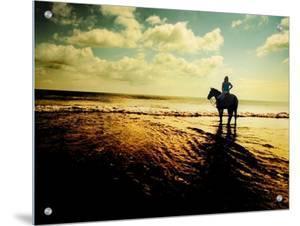 Woman Horseback at Edge of the Water by Jan Lakey