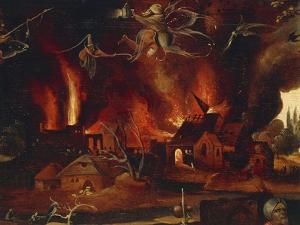 The Temptation of St. Anthony, Detail Showing the City in Flames and Demons by Jan Mandyn