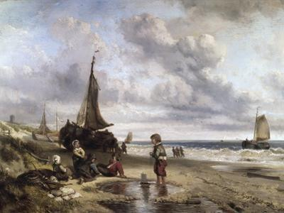 Children Playing by the Ocean