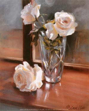 Glass Vase with White Roses by Jan McLaughlin