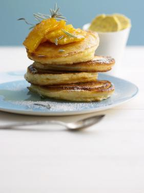 Pancakes with Orange Slices and Maple Syrup by Jan-peter Westermann