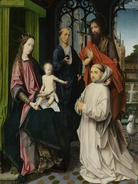 Virgin and Child Enthroned, with Saints Jerome and John the Baptist and a Carthusian Monk by Jan Provoost